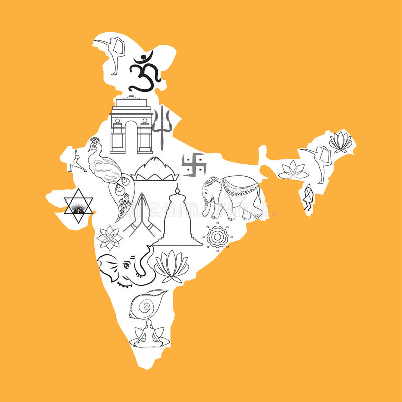 India map outline cultural spiritual symbols doodle saffron stock india is the spiritual center of the world map of india filled with cultural sacred symbols saffron orange background black and white map gumiabroncs Gallery