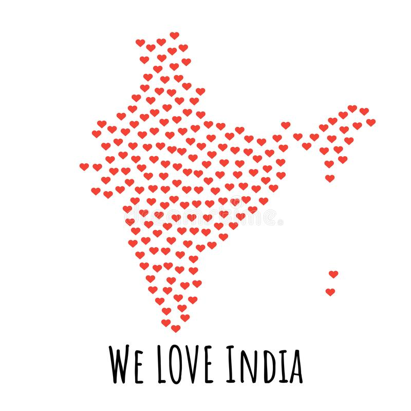 India Map With Red Hearts Symbol Of Love Abstract Background