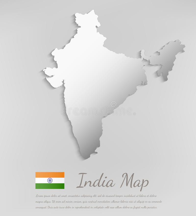 India map with shadow effect. Vector vector illustration