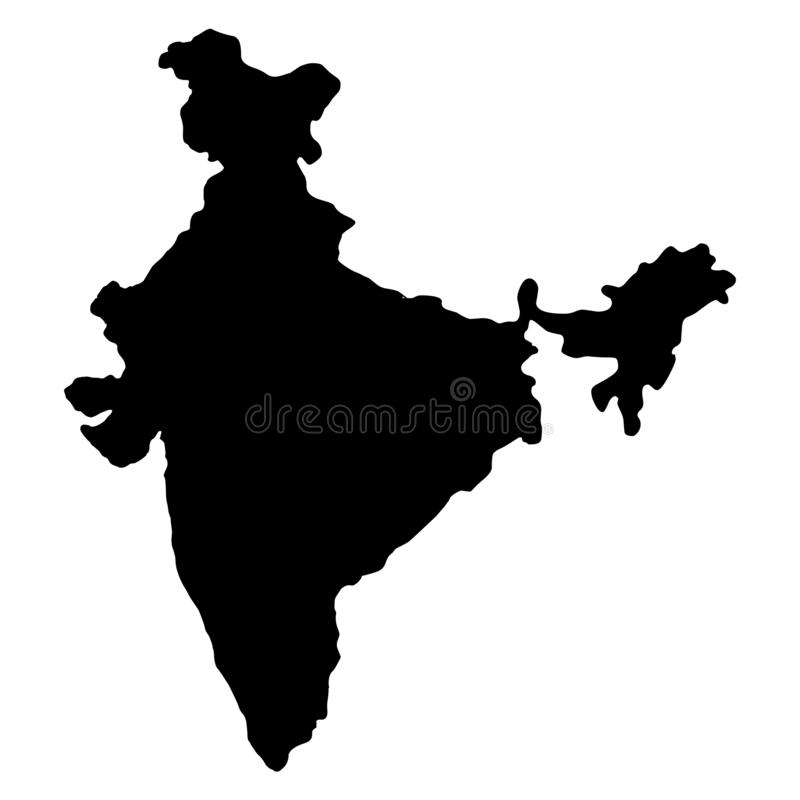 India map silhouette vector illustration. Isolated on white background royalty free illustration