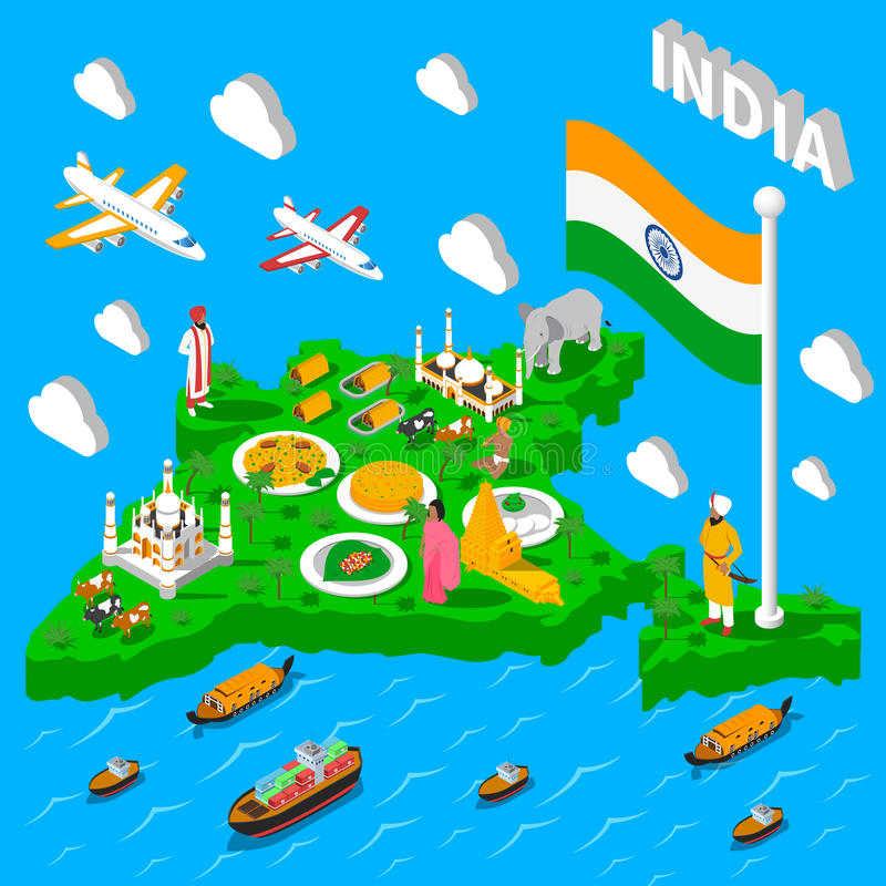 India Map Touristic Isometric Poster stock illustration