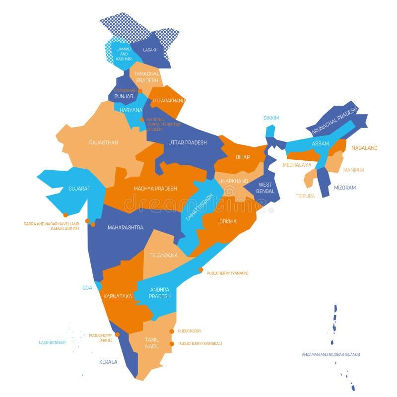 India Politica Cartina.India Mappa Politica Delle Divisioni Amministrative Illustrazione Vettoriale Illustrazione Di Amministrativo Bordo 199122281