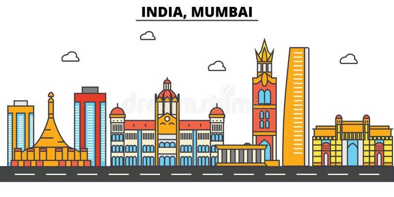 India, Mumbai. City skyline architecture . Editable. India, Mumbai. City skyline architecture, buildings, streets, silhouette, landscape, panorama landmarks stock illustration