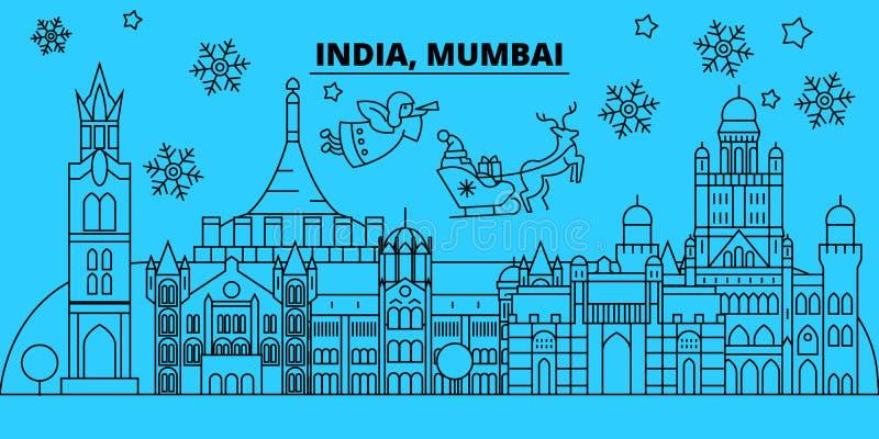 India, Mumbai-de horizon van de de wintervakantie Vrolijke Kerstmis, Gelukkige Nieuwjaar verfraaide banner met Santa Claus India, vector illustratie