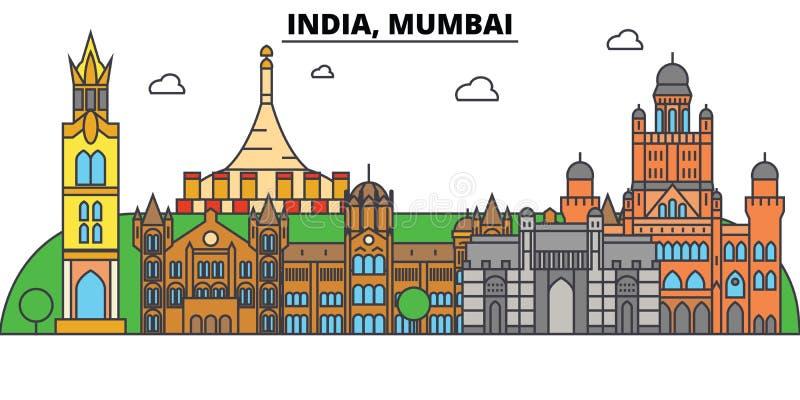 India, Mumbai, Hindoeïsme Stadshorizon, architectuur, gebouwen, straten, silhouet, landschap, panorama, oriëntatiepunten royalty-vrije illustratie