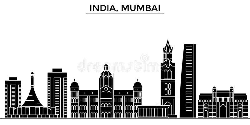 India, Mumbai-horizon van de architectuur de vectorstad, reiscityscape met oriëntatiepunten, gebouwen, isoleerde gezichten vector illustratie
