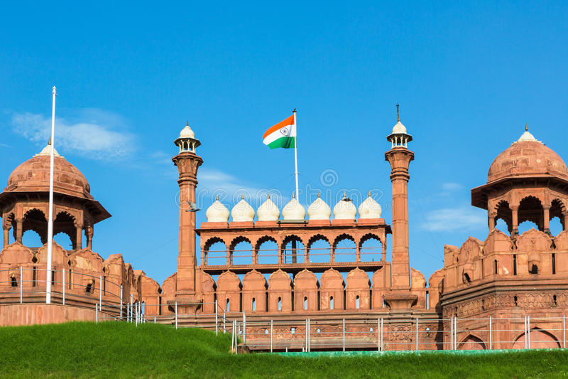 India national flag. Above the entrance gate of the Red Fort in New Delhi, the country captial city royalty free stock image
