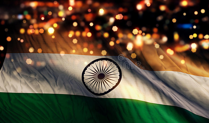 India National Flag Light Night Bokeh Abstract Background. Art stock photography