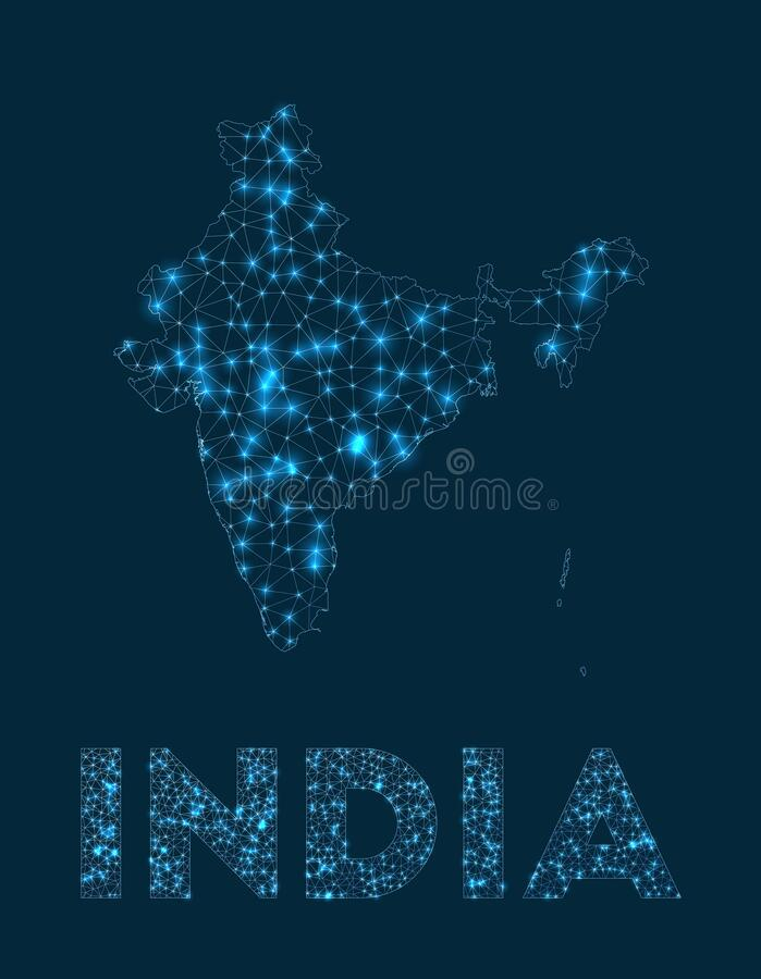 India network map. Abstract geometric map of the country. Internet connections and telecommunication design. Creative vector illustration stock illustration