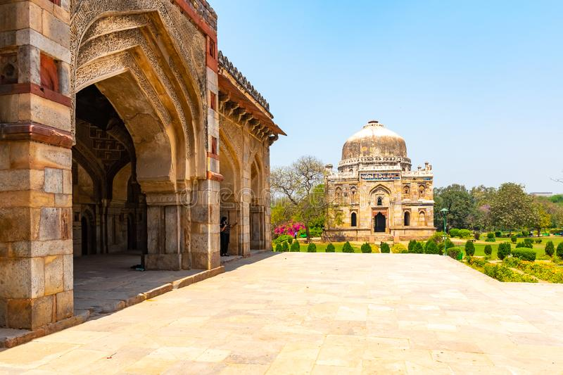 India, New Delhi, Sheesh Gumbad, 30 Mar 2019 - Sheesh Gumbad tomb from the last lineage of the Lodhi Dynasty, situated stock photo