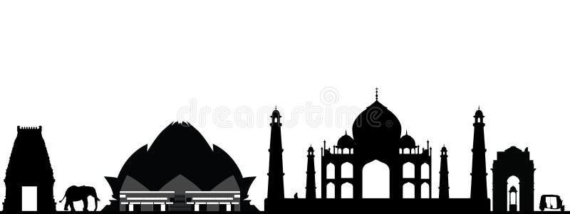 India new delhi skyline. Black and white stock illustration