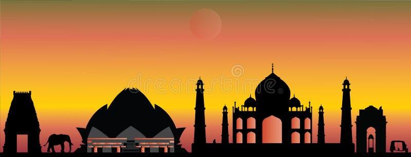 India new delhi skyline. By sunset vector illustration