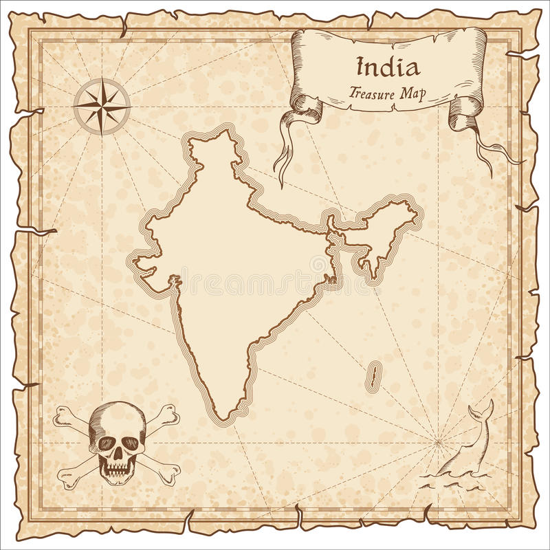 India old pirate map. stock vector. Illustration of navigation ...