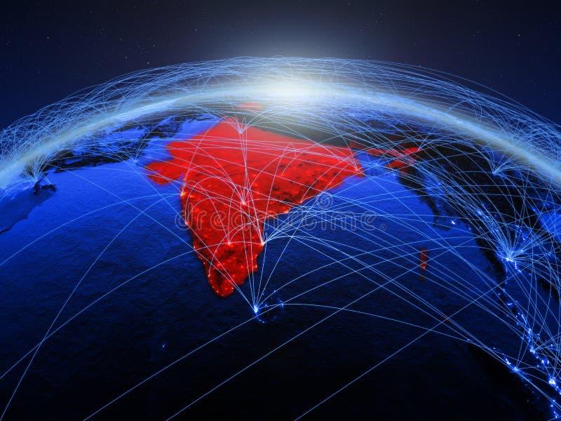 India op blauwe digitale aarde met internationaal netwerk die mededeling, reis en verbindingen vertegenwoordigen 3D Illustratie royalty-vrije stock afbeelding