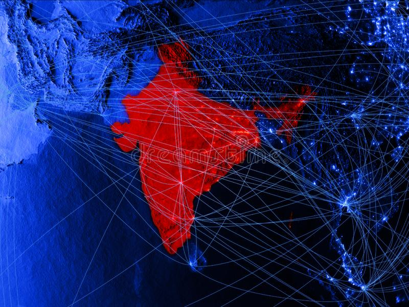 India op blauwe digitale kaart met netwerken Concept internationale reis, mededeling en technologie 3D Illustratie elementen stock illustratie