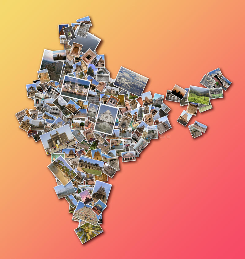 India outline map. Displaying Indian monuments and famous places royalty free stock photos