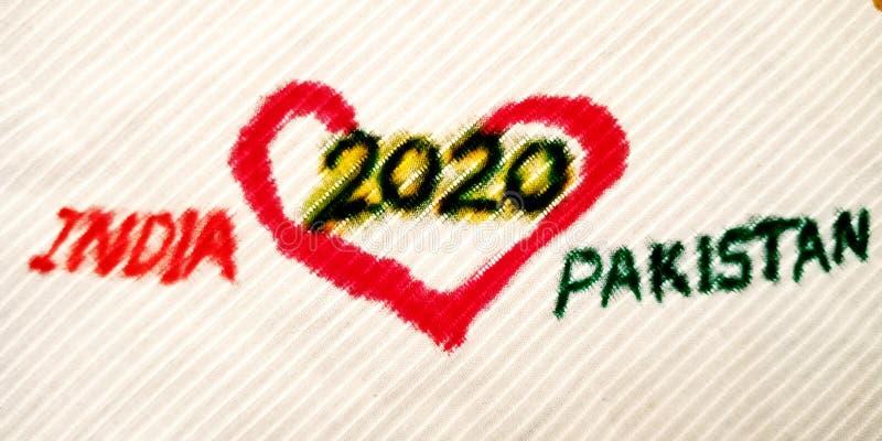 india pakistan love in year 2020 presentation on white background stock photo