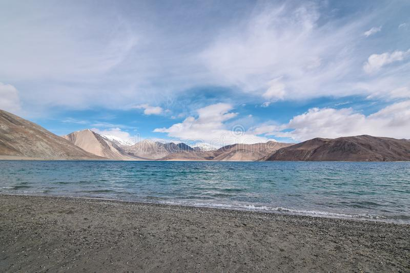 Shore of Pangong Lake in Leh, Ladakh, stock photography