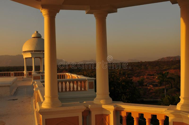 India: The panoramic view from an old palace hotel near Poshina stock photography