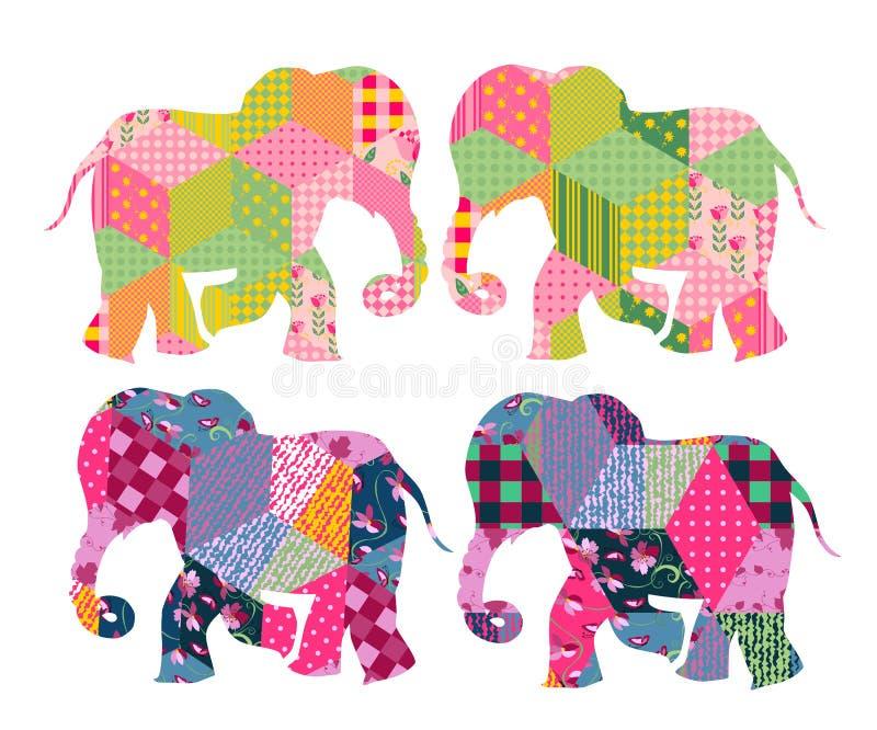 India patchwork Elefantes bonitos no fundo branco ilustração royalty free