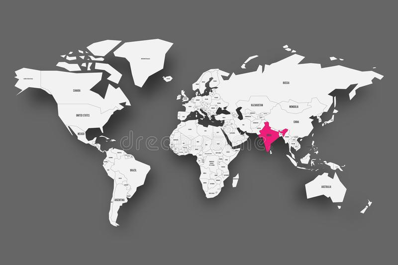 India pink highlighted in map of World. Light grey simplified map with dropped shadow on dark grey background. Vector royalty free illustration