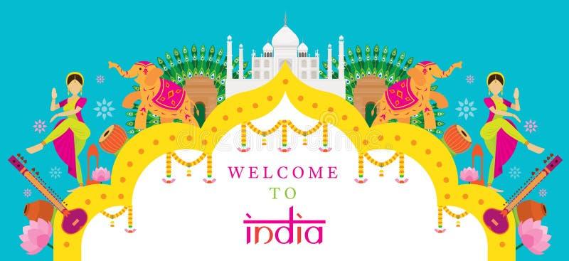India podróży przyciągania sztandar ilustracja wektor
