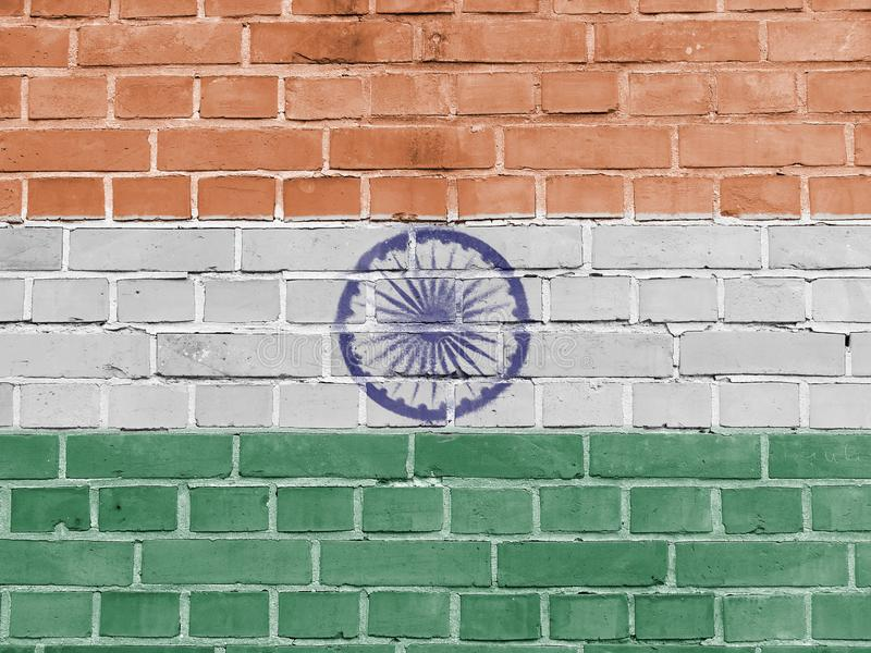 India Politics Concept: Indian Flag Wall. Background Texture stock photo