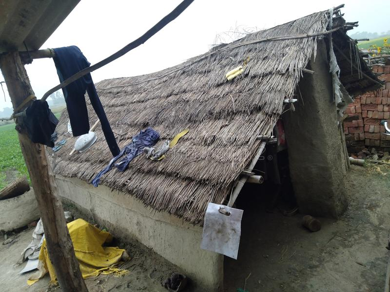 India poor jhopadi home. Indian poor home a man is village royalty free stock image
