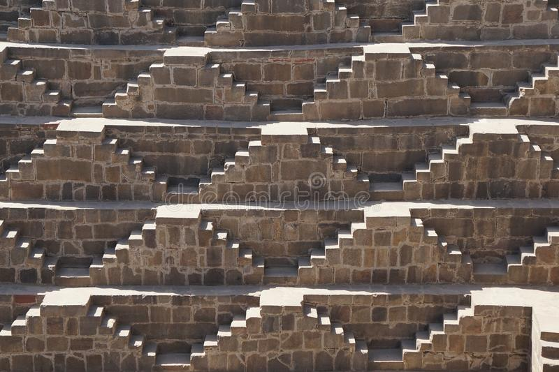 India - rajasthan - jaipur - dausa - chand baori - stepwell - march 28, 2018 time: 10:36 unique shade in the step well from the. India - Rajasthan - Jaipur stock photo