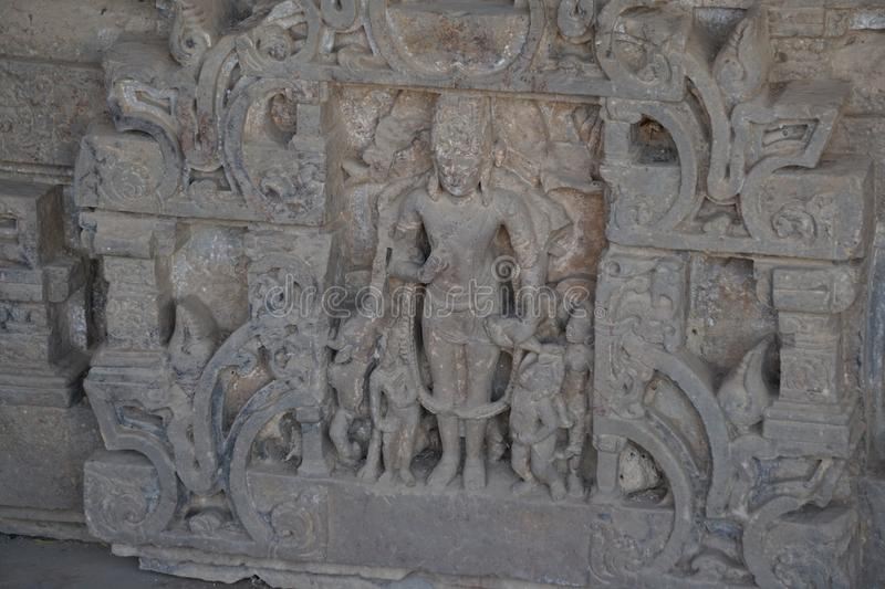 India - rajasthan - jaipur - dausa - near chand baori - stepwell - march 28, 2018, indian archaeological relics broken sculptures. Images royalty free stock image
