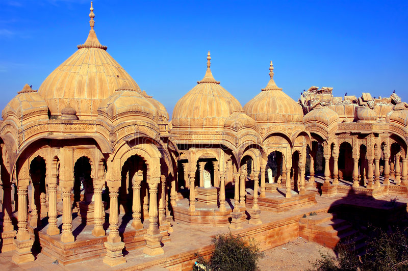 India, Rajasthan, Jaisalmer: Cenotaphs royalty free stock photo