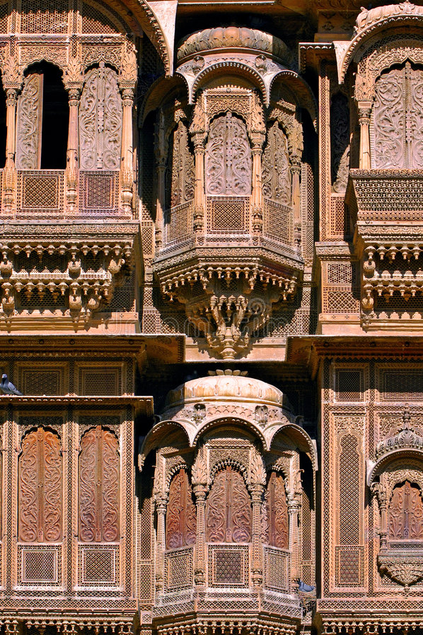 India, Rajasthan, Jaisalmer: Het huis van Havali stock fotografie