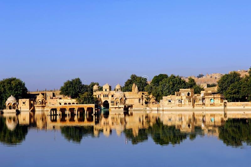 India, Rajasthan, Jaisalmer: o lago foto de stock royalty free