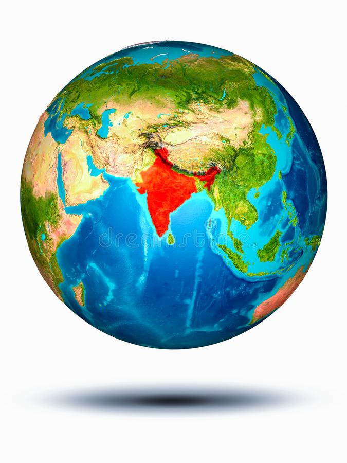 India on Earth with white background. India in red on model of planet Earth hovering in space. 3D illustration isolated on white background. Elements of this vector illustration