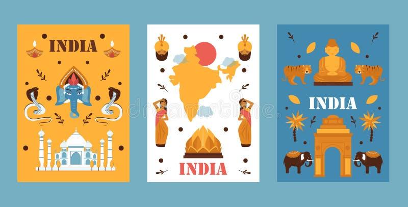 India reisbanner, vectorillustratie Eenvoudig plat ontwerp, symbolen van de Indiase cultuur, traditie, natuur en religie stock illustratie