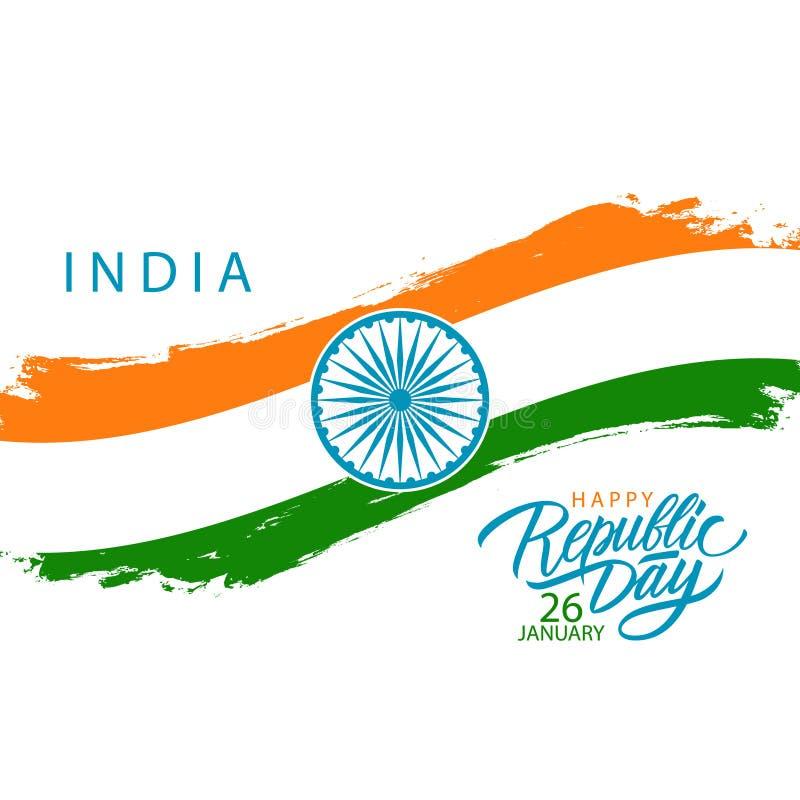 India republiki Szczęśliwy dzień, Stycznia 26 kartka z pozdrowieniami z indyjskim flaga państowowa muśnięcia uderzeniem i ręki ry ilustracja wektor