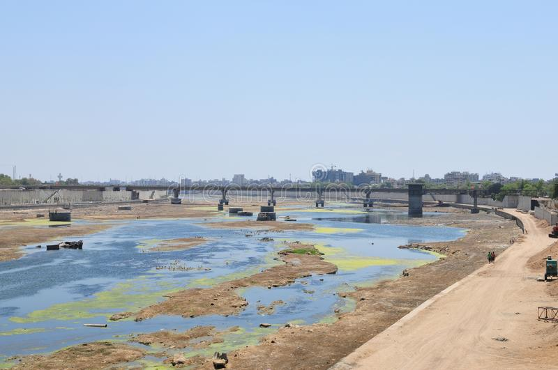 India: The River in Ahmedabad City, Gujarat has dried out. India: The River in Ahmedabad City, in Gujarat has dried out almpst completely stock photos