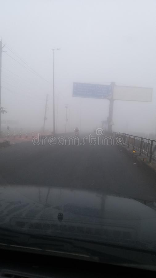 India`s bhopal city  won be rode  kohra morning 7.30am. India`s bhopal city won be rode morning 7.30am kohra draiv stock photography