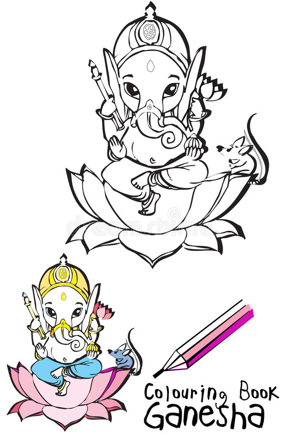 India series - Ganesh. Colouring Book - for children, Ganesha vector illustration