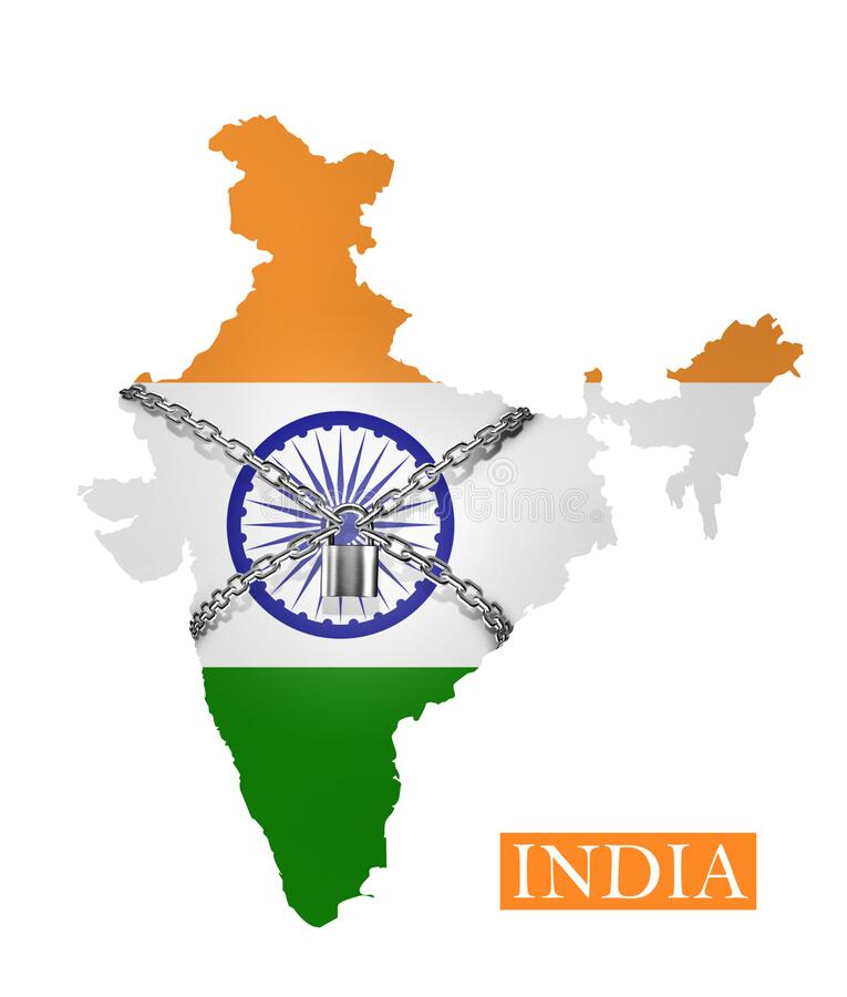 India Shutdown Chain And Padlock Lock Down, With India Flag Stock  Illustration - Illustration of crisis, clip: 176814680