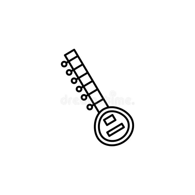 India, sitar pictogram Element van de cultuurpictogram van India Dun lijnpictogram voor websiteontwerp en ontwikkeling, app ontwi stock illustratie