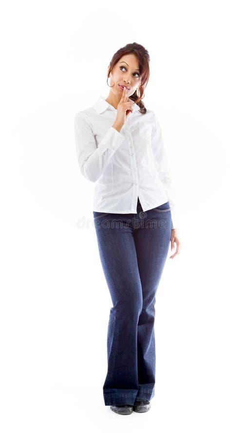 Download India?ska M?oda Kobieta Z Palcem Na Wargi Przygl?daj?cy Up Obraz Stock - Obraz złożonej z biały, koszula: 41951143