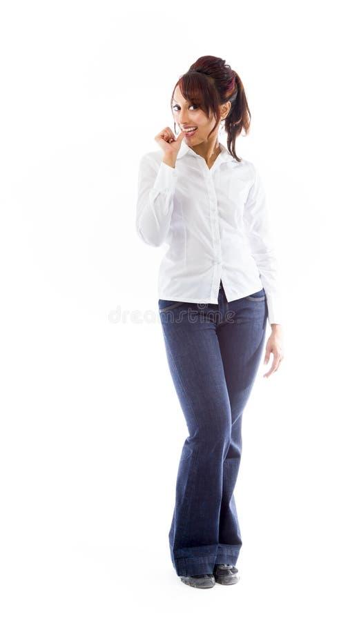 Download India?ska M?oda Kobieta Z Palcem W Usta Obraz Stock - Obraz złożonej z azjata, przypadkowy: 41951141