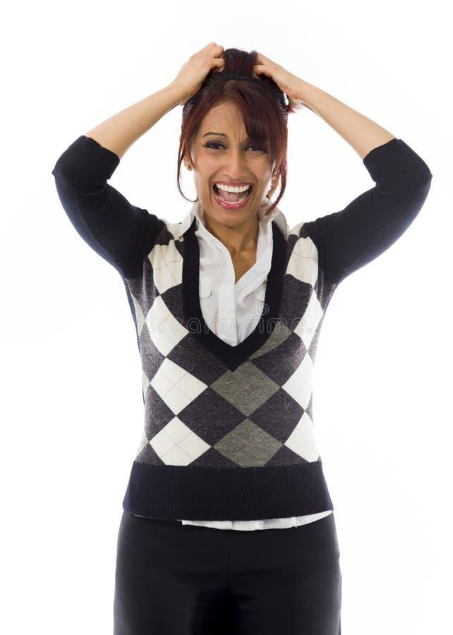 Download India?ski Bizneswoman Ci?gnie Jej W?osy I Krzyczy W Frustraci Obraz Stock - Obraz złożonej z drażnienie, kamera: 41950997