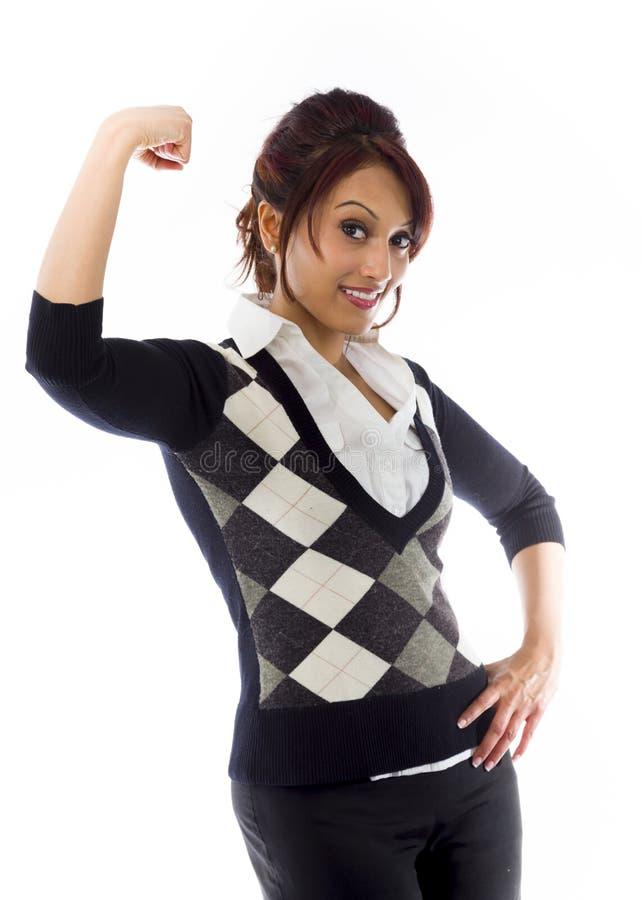 Download India?ski Bizneswoman Napina Bicepsy I Ono U?miecha Si? Obraz Stock - Obraz złożonej z dziewczyna, 1: 41950865