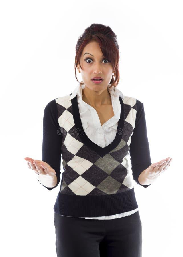 Download India?ski Bizneswoman Patrzeje Szokuj?cy Obraz Stock - Obraz złożonej z komunikacja, pionowo: 41950933