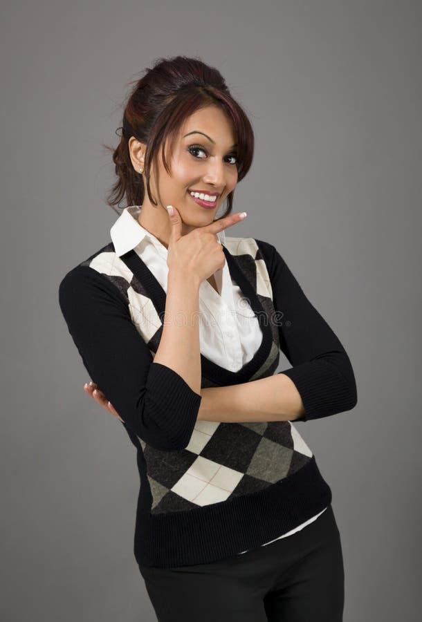 Download Indiański Bizneswoman Pokazuje Smiley Twarz Zdjęcie Stock - Obraz złożonej z uśmiech, subkontynent: 41950702