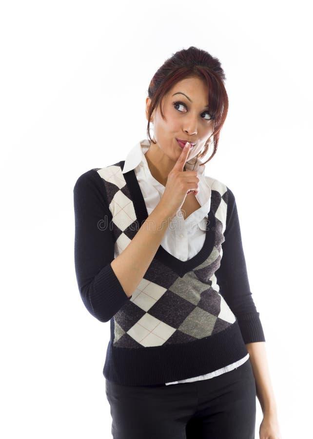 Download India?ski Bizneswoman Z Palcem Na Wargach Obraz Stock - Obraz złożonej z pulower, zło: 41950879