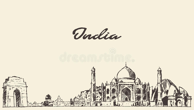 India skyline vector illustration drawn sketch. India skyline vector engraved illustration hand drawn sketch stock illustration