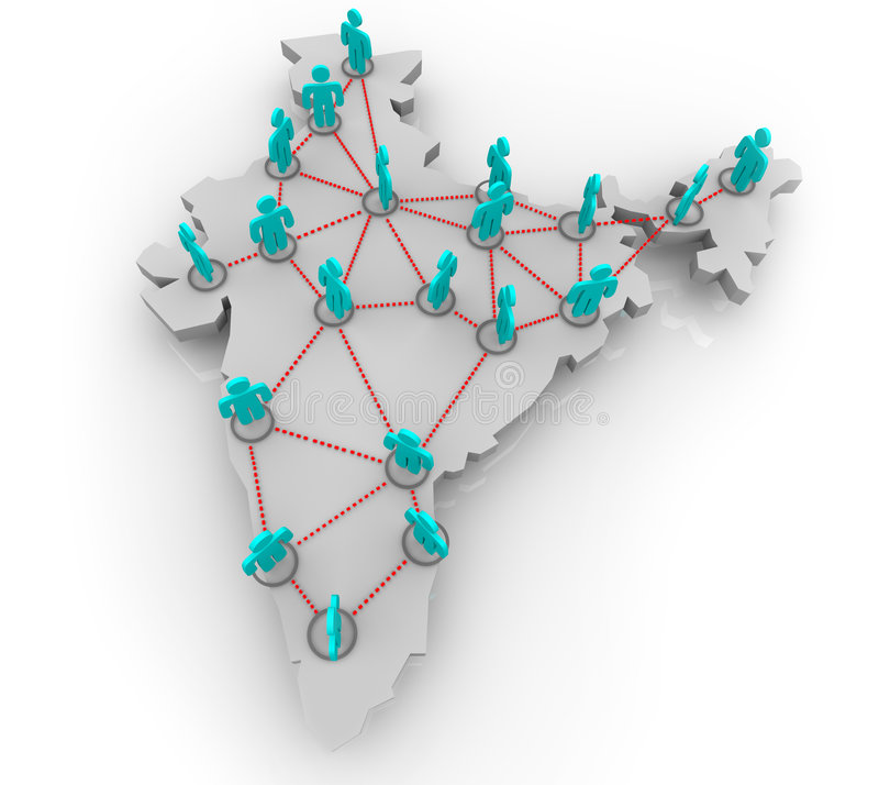 India Social Network. A social network of people in the country of India vector illustration